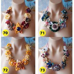 Handmade Fabric Flower Statement Necklace Bib by vitbich on Etsy, $29.99