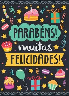 Cartão Médio Parabéns Happy Birthday Messages, Birthday Quotes, Birthday Wishes, Birthday Cards, Birthday Msg, Lettering Tutorial, Happy B Day, Holidays And Events, Holiday Parties