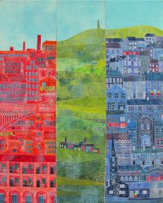 Townscapes art quilt by Gillian Travis (UK)