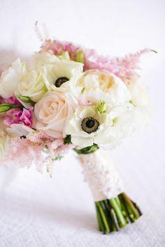 Blush + White Bouquet of Dahlias, Garden Roses, Astilbe, + Anemones // Dana Cubbage Weddings // Charleston SC + Destination Wedding Photographer // Dunes West Wedding