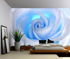 Blue Rose – Large Wall Mural, Self-adhesive Vinyl Wallpaper, Peel & Stick fabric wall decal - Tapeten ideen Large Wall Murals, Wall Stickers Murals, Wall Decals, 3d Wall Murals, Ceiling Murals, Sticker Mural, Wall Art, Vinyl Wallpaper, Photo Wallpaper