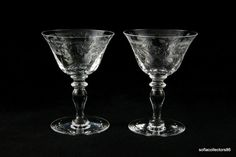 Hawkes Chantilly Pattern Champagne / Tall Sherbet Glasses--ca.1910s--Stem #6030--Sold in pairs by soflacollectors86, $53.00