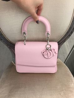 7c486c1aece3 Mini pastel pink Be Dior Bag with silver hardware and leather wrap dior  charm .