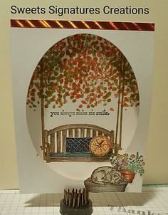 Inspired by a pin found on Pinterest. Stampin Up's Sitting Here stamp set