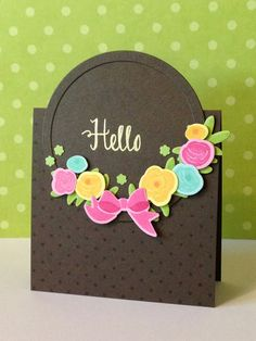 hand crafted card from three umbrellas ... black card with bright die cut flowers ... circle-over-th-top design ... great card!