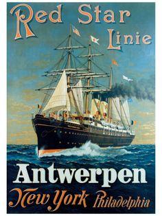 Red Star Linie: Antwerpen, New York, Philadelphia Lámina giclée