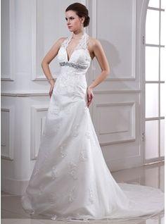 Forme Princesse Dos nu Traîne courte Organza Satiné Robe de mariée avec Dentelle Emperler (002011509) - JJsHouse