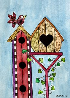 Bird House ~ Sweet Spring Memories. by Lisa Frances Judd