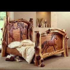 Log Bed Frame with carved horses. This is amazing! Rustic Log Furniture, Western Furniture, Furniture Design, Bedroom Furniture, Cabin Furniture, Carved Beds, Hand Carved, Carved Wood, Horse Bedding