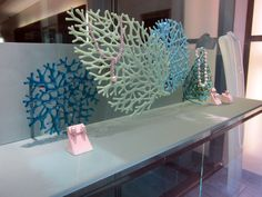 Art glass coral designs by Uneek Glass Fusions for Mikimoto jewelry store at the South Coast Plaza, Costa Mesa, CA. www.uneekglassfusions.com