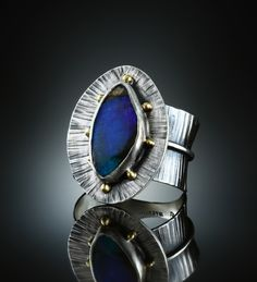 Boulder Opal Ring. Fabricated Sterling Silver and 18k. www.amybuettner.com https://www.facebook.com/pages/Metalsmiths-Amy-Buettner-Tucker-Glasow/101876779907812?ref=hl https://www.etsy.com/people/amybuettner http://instagram.com/amybuettnertuckerglasow