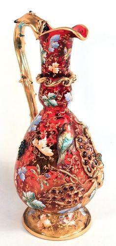 Very Fine Moser Enameled Glass Ewer : Lot 336