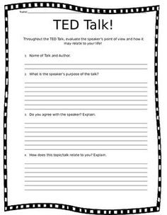 TED Talk Questionnaire - Pay off credit card - How long to Pay off credit card? - Love TED Talks in the classroom? Here is a versatile TED Talk viewer guide! This easy to use worksheet provides students with questions that may be used for any talk! Middle School Ela, Middle School Classroom, English Classroom, English Teachers, High School Teachers, Grade 8 Classroom, Middle School Health, Middle School Counseling, Classroom Ideas