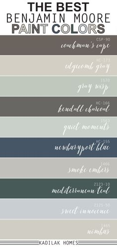 The Best Benjamin Moore Paint Colors We put together our top 10 most popular Benjamin Moore paint colors! These paint colors are sure to inspire your next room makeover. Blue Gray Paint, Green Paint Colors, Bedroom Paint Colors, Exterior Paint Colors, Paint Colors For Living Room, Paint Colors For Home, House Colors, Neutral Paint, Outside Paint Colors