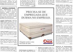 Colchão Ônix - Anúncio veiculado nos classificados de um jornal. (peça fantasma)