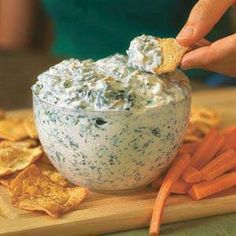 Healthier Spinach Dip Recipe  1 10 oz container of frozen chopped spinach – defrost and squeeze out all the juice  1-2 5 oz cans of sliced water chestnuts – dice into small pieces  1 8 oz container of 1% cottage cheese – blend with a handheld blender or in a traditional blender until smooth and creamy  1 packet ranch dressing  mix well and chill,