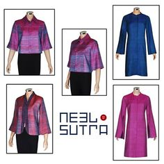 Exotic Hand-woven Gija/moonga silks in two tone colors jackets short & long with kimono sleeves perfect for a grey winter evening. New collection now available at Neel Sutra, The Oberoi, Gurgoan.  #Dresses #Fashionista #Women #Luxury #LuxuryWear #CocktailWear #EveningWear #PartyWear #WesternWear #Jackets #WinterWear #HeritageSilks #ModernSilhouette #IntricateCraft #NeelSutra