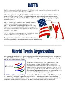 Modern World Organizations Projects - Includes readings,on the UN, IMF, WTO, NAFTA, & EU, a rubric, and directions!