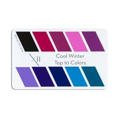 top 10 colors for cool winter seasonal tone. Can be laminated, or presented in a clear plastic envelope for protection Pop it in your wallet, with your credit cards, and never be without an accurate color swatch of your 10 most flattering colors Cool Winter, Winter Typ, Clear Winter, Deep Autumn Color Palette, Deep Winter Colors, Summer Colors, Soft Autumn Deep, Dark Autumn, Dark Winter