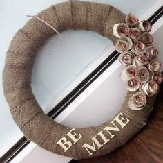 "Make this pretty ""Be Mine"" burlap #wreath for Valentine's Day with this easy #tutorial."