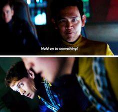 Love Chekov's I-really-hope-you-know-what-you're-doing-Hikaru face | Star Trek Beyond