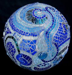 Mosaic Orb Blue Garden Sphere Glass Terracotta by PsykelChic