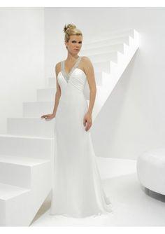 Chiffon A-Line V-Shaped Sleeveless Wedding Dress with Chapel Train