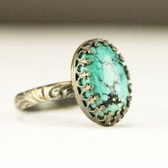 Turquoise Stacking Ring  Sterling Oval Turqoise Ring on by PPennee