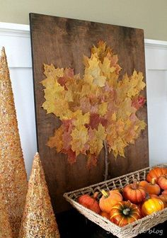 12 Projects for Your Home Using Autumn Leaves: Fall Leaf Art Fall Crafts For Adults, Craft Projects For Adults, Easy Fall Crafts, Fall Diy, Leaf Projects, Diy Art Projects, Project Ideas, Art Adulte, Halloween Crafts
