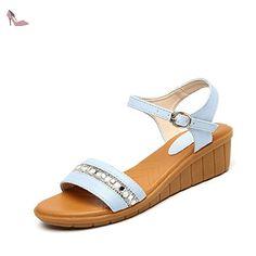 La mode des femmes d'été confortables sandales hauts talons,blanc 39 -  Chaussures
