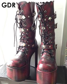 Kera Sweet Dolly Lolita Red Brush Boots Goth Shoes 5 5 11 34 44 | eBay