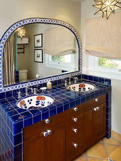 blue tile Spanish Bathroom