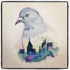 ORIGINAL Watercolor Painting Hipster Art Pigeon in by LimbTrim, $25.00