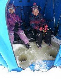 Ice Fishing @ Lake Herridge Lodge & Resort great for families, friends and strangers :)