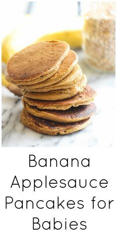 Applesauce Baby Banana Pancakes Banana applesauce pancakes for babies Applesauce Pancakes, Baby Applesauce, Baby Pancakes, Baby Muffins Banana, Snacks Sains, Baby Finger Foods, Healthy Finger Foods, Healthy Baby Food, Baby Eating