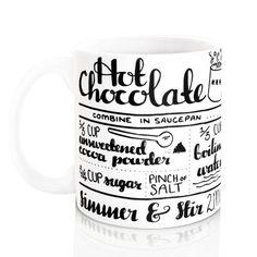 Hot Chocolate Recipe Mug. Hand lettering by summerandskye on Etsy
