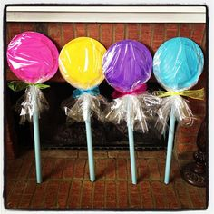 Sugar Rush party decorations - paper plate and PVC lollipops
