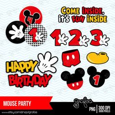 MOUSE PARTY Digital Clipart, Mickey Mouse Clipart ,  Mickey Mouse Clip art   / Instant Download on Etsy, $5.00