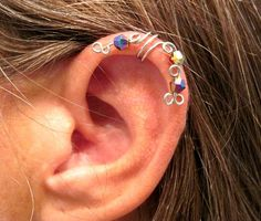 """No Piercing """"Peacock"""" Ear Cuff for Upper Ear 1 Cuff Silver Tone with Colorful Crystals or 17 COLOR CHOICES. $10.00, via Etsy."""