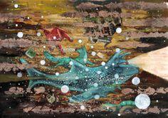 La lluvia y el rio - Mixmedia on wood by Mono Cieza