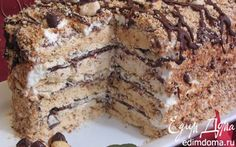 Hazelnut Almond Meringue cake with chocolate ganache and chocolate mousse. Russian Cakes, Russian Desserts, Russian Recipes, Easy Bake Cake, No Bake Cake, Baking Recipes, Cake Recipes, Dessert Recipes, Meringue Cake