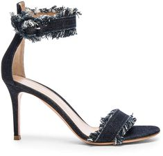Gianvito Rossi Denim Portofino 85 Heels with frayed edge detailing on these denim heeled sandals Denim Pumps, Denim Sandals, Denim Boots, Ankle Straps, Ankle Strap Sandals, Heeled Sandals, High Heel Pumps, Pump Shoes, Shoes Heels