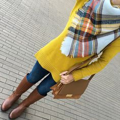 mustard tunic sweater, abril shoulder bag, petite cognac ridging boots, plaid blanket scarf, petite ankle jeans, fall outfit, petite fashion, how to wear a blanket scarf - click the photo for outfit details!