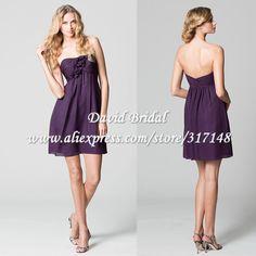 Country Knee Length Bridesmaid Dresses Empire Yellow Chiffon Dress Short In Dark Purple