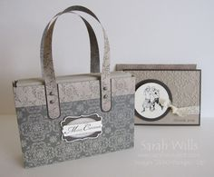 2013; Sarah Wills at 'Sarah's Ink Spot Blog;' Designer Paper Handbag (to hold A2 cards); one sheet of DP; tutorial supported by photos and a template; a printable version of the tutorial available