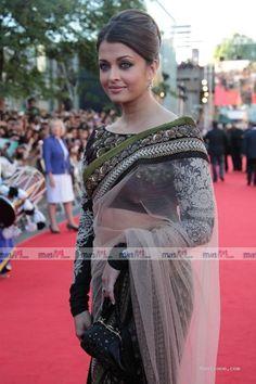 Aishwaraya at London premier of Ravvan    saree blouse design designer saree bollywood saree
