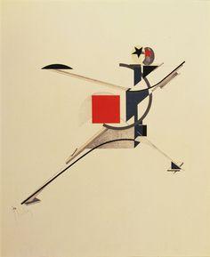 """El Lissitzky. Neuer (New Man) from Figurinen, die Plastische Gestaltung der elektro-mechanischen Schau """"Sieg über die Sonne"""" (Figurines: The Three-Dimensional Design of the Electro-Mechanical Show """"Victory over the Sun""""). 1920-21, published 1923"""