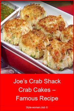 Joe's Crab Shack Crab Cakes – Famous Recipe – Family meal recipes - crab recipes Crab Cake Recipes, Fish Recipes, Seafood Recipes, Gourmet Recipes, Vegetarian Recipes, Cooking Recipes, Healthy Recipes, Homemade Crab Cakes, Calamari Recipes
