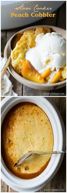 Maybe make w/ mango? Slow Cooker Peach Cobbler on ASpicyPerspective.com #slowcooker #crockpot #cobbler