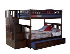 Dark Wood Bunk Bed with Stairs